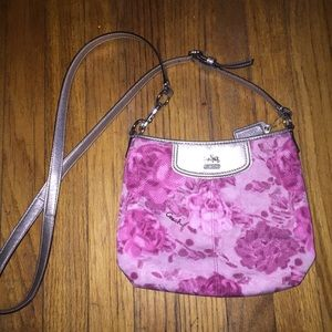 authentic Coach pink floral crossbody bag